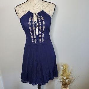 Sadie & Sage halter top dress lined blue medium